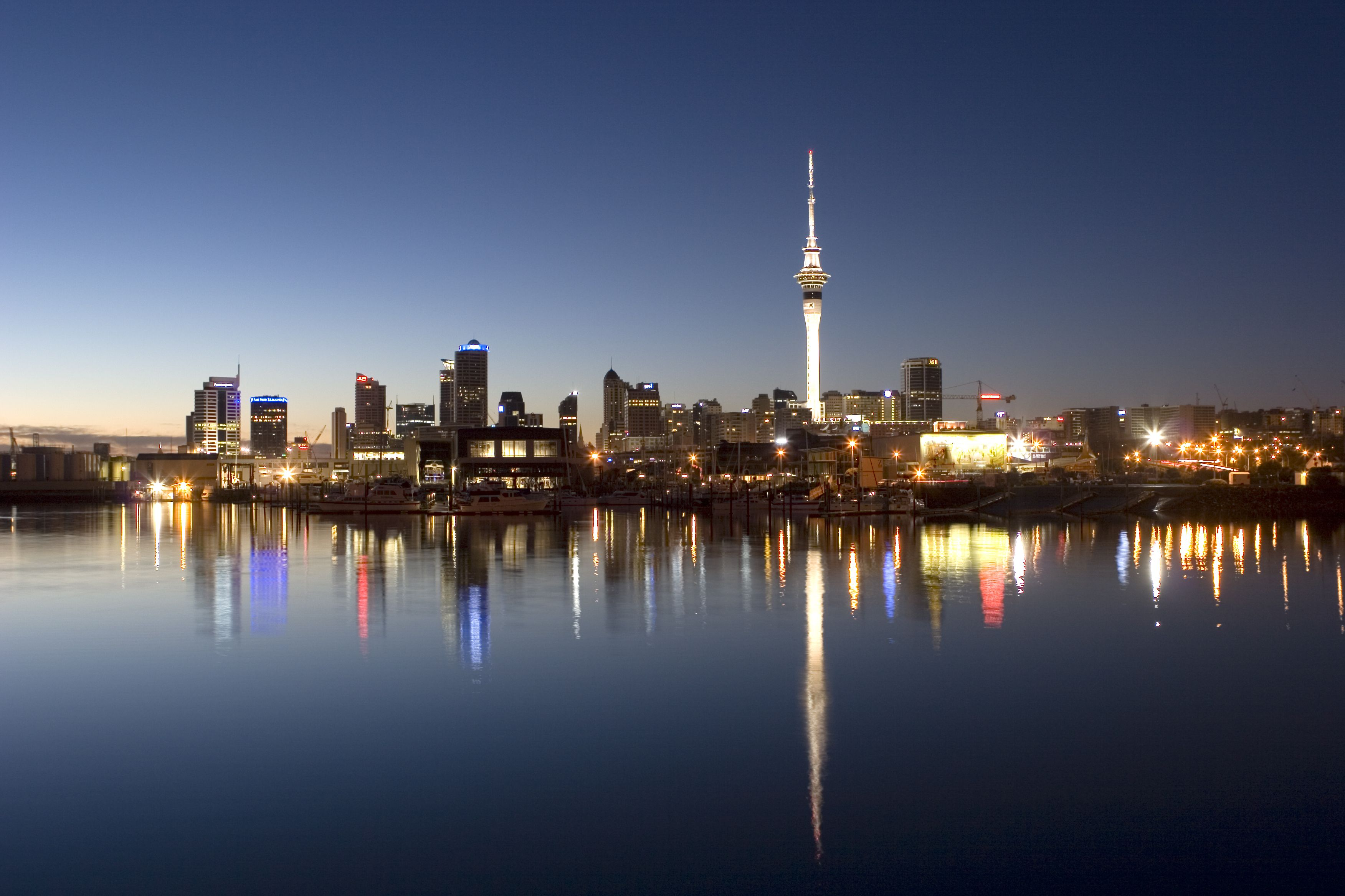 night view of a New Zealand city