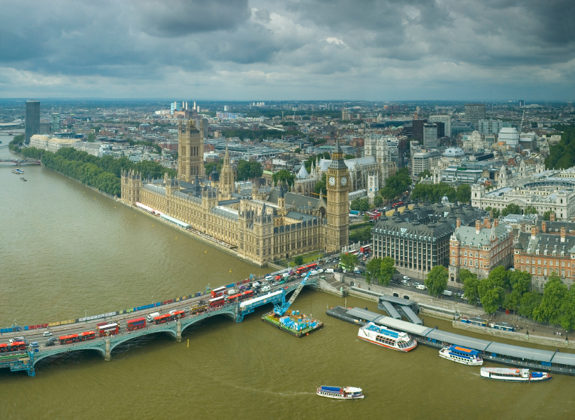 aerial view of London during the day
