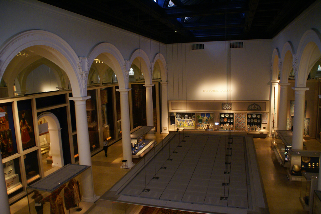 A gallery of middle eastern objects at the Victoria and Albert Museum.