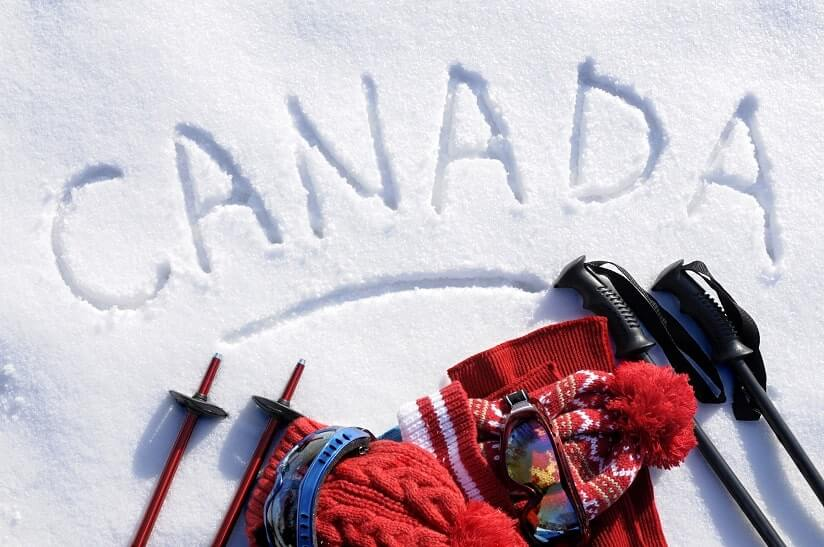 Canada written in the snow
