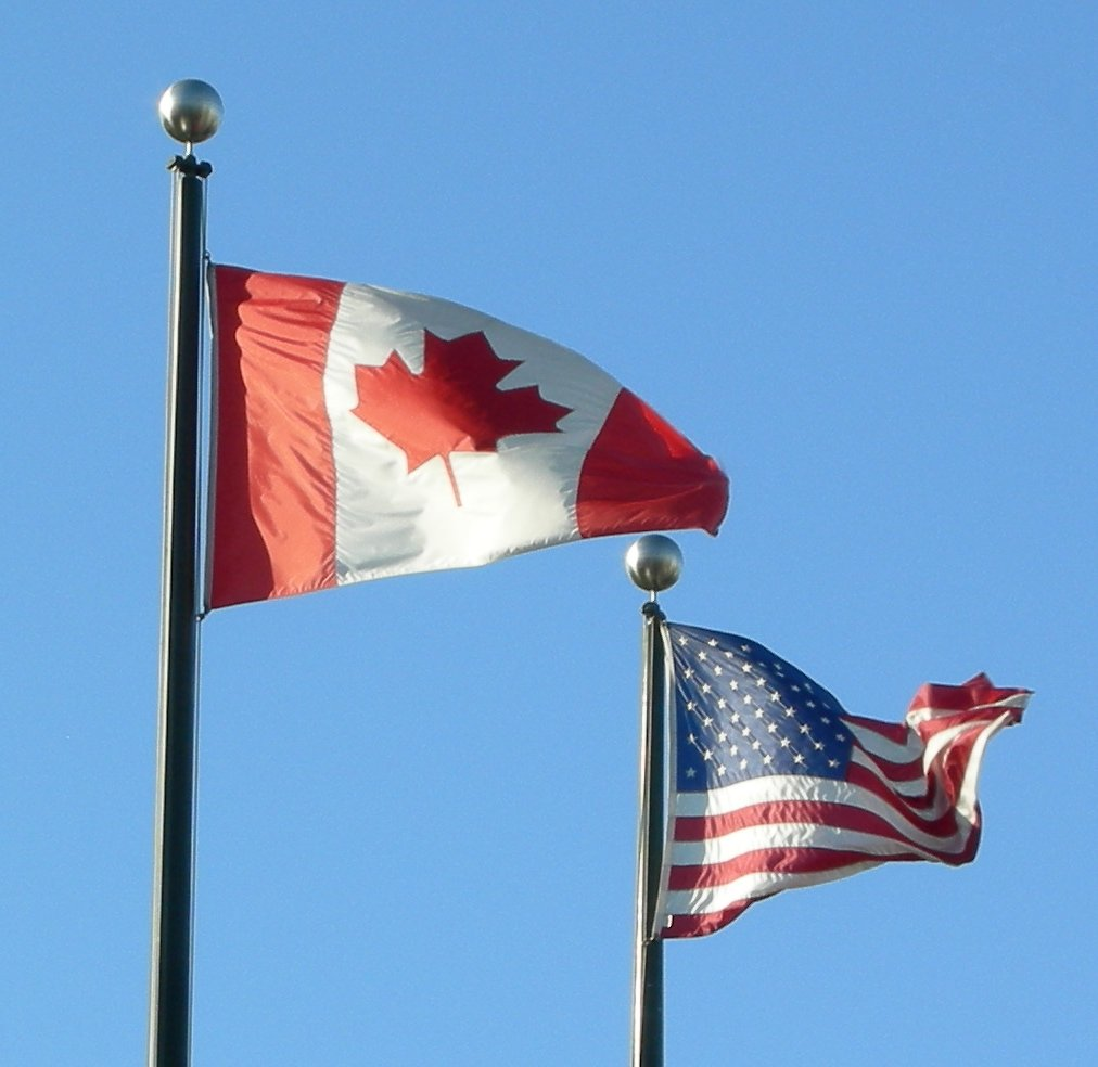 Flags of USA and Canada