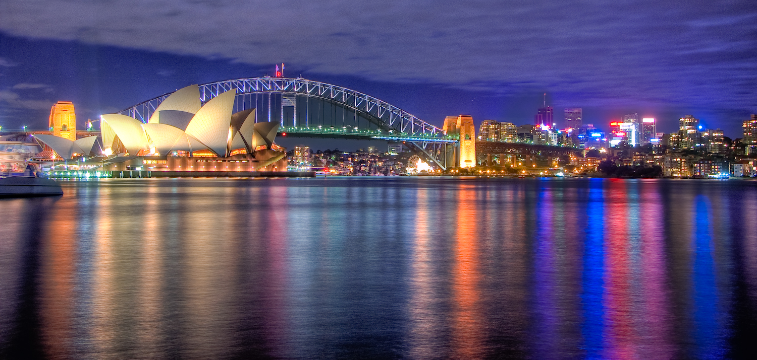 a view to colourful Sydney at night