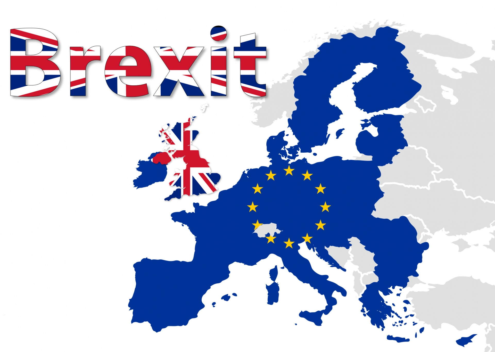 Brexit on the map of europe and EU marked