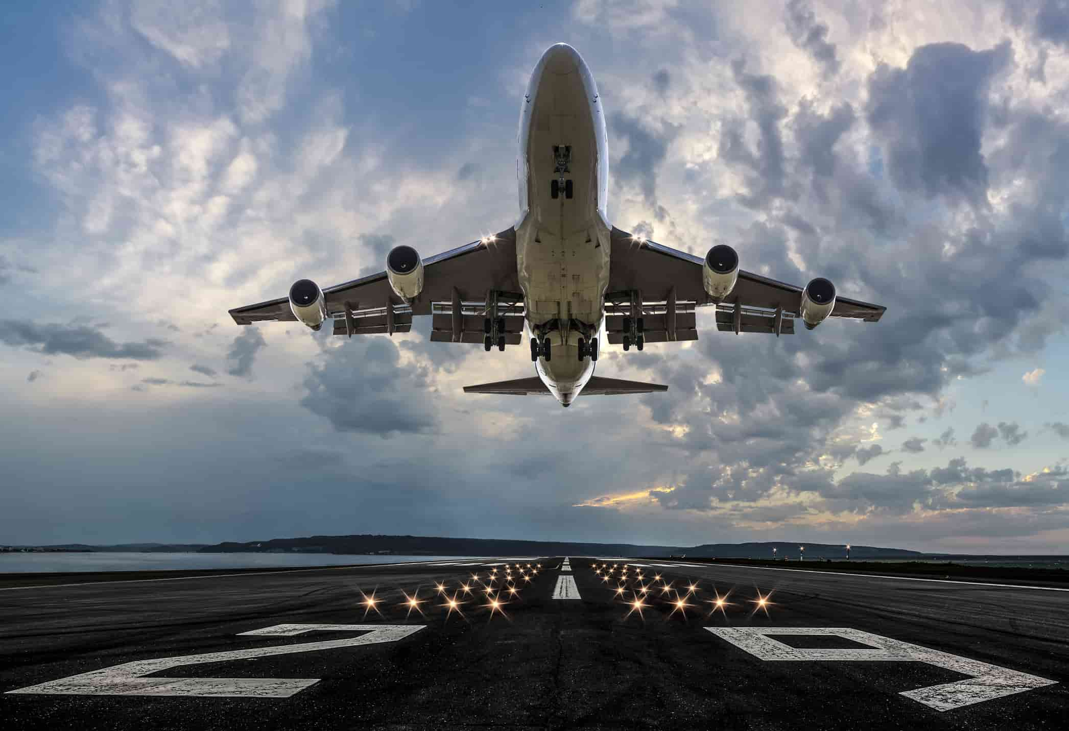 an airplane taking off from the airport