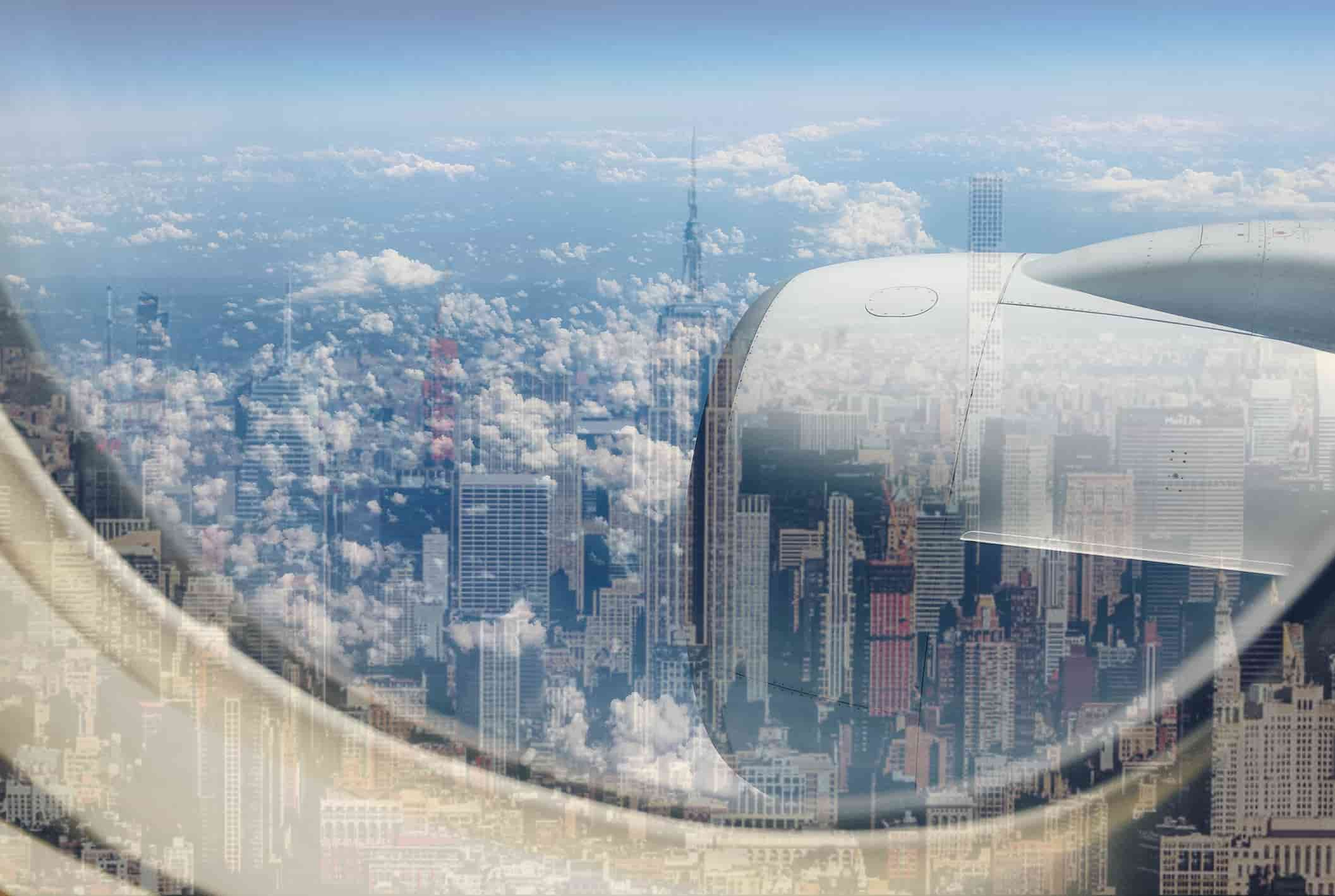 overview of New York City from an airplane