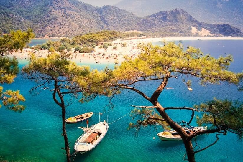 boats at a beach in Turkey