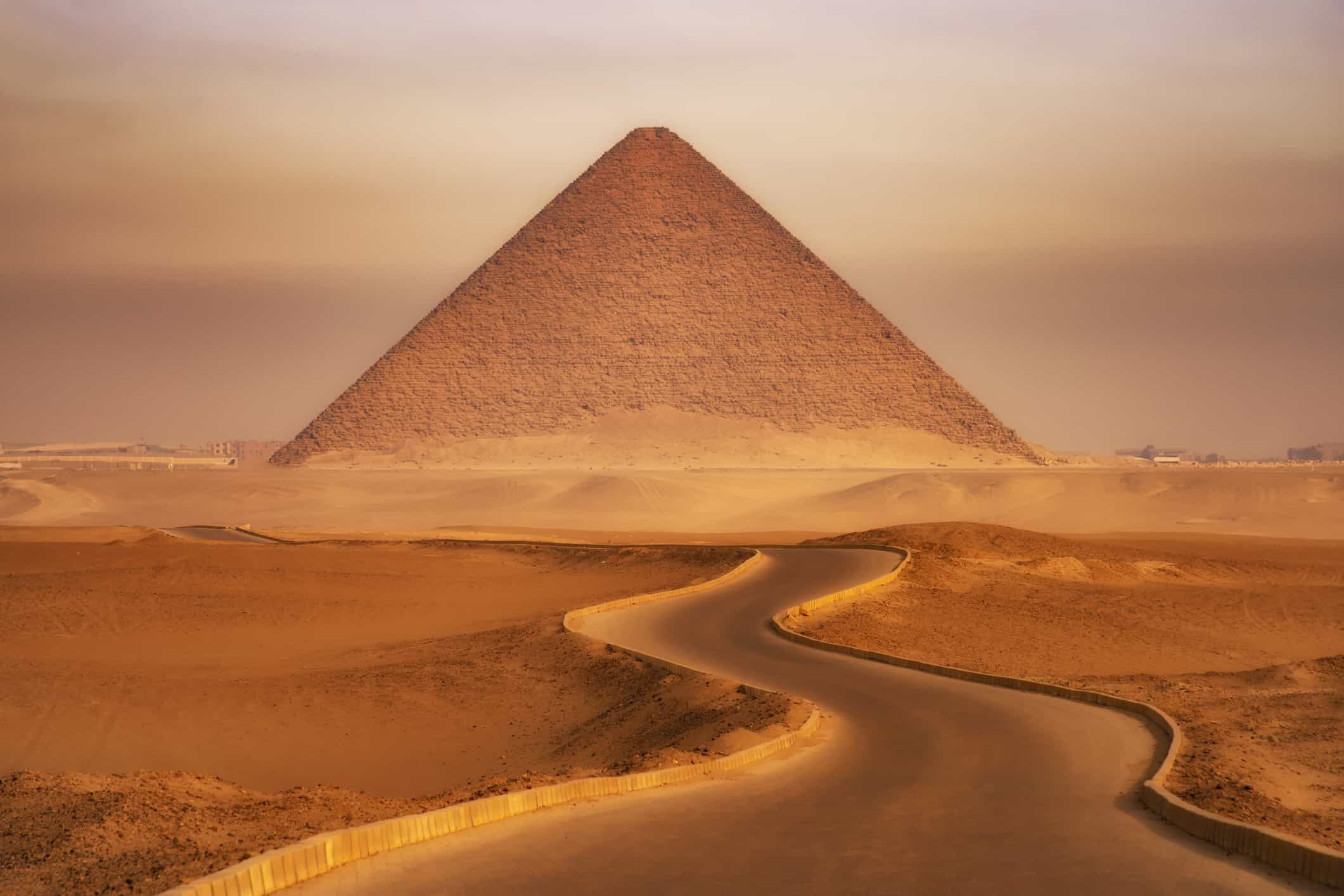 view of an Egyptian pyramid