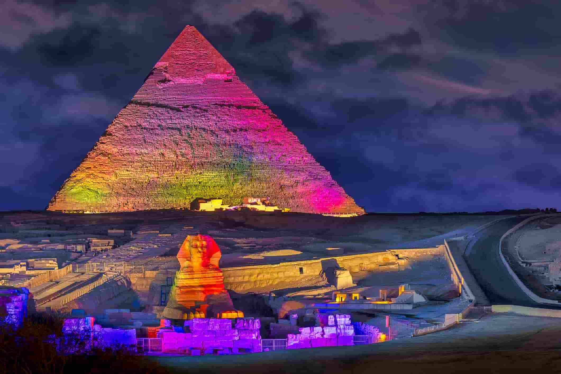 pyramids of Giza in Egypt at night